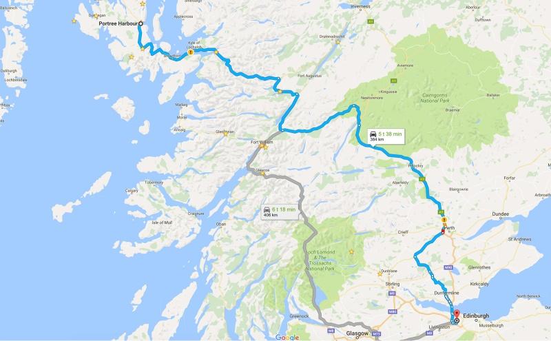 Skotlanti - ajoreitti